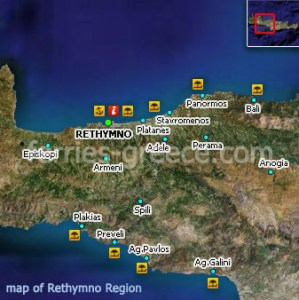 Ferries to Rethymnon  Rethymnon Travel Guide   Map Map of Rethymno Crete Greek Islands Greece