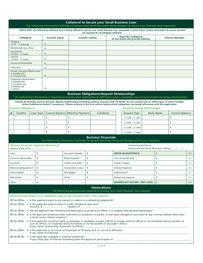 Small Business Loan Application - TD Bank Free Download