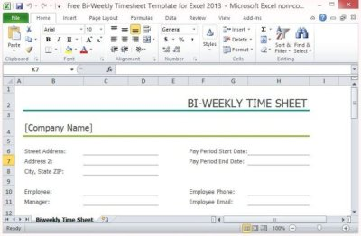 Free Bi-Weekly Timesheet Template For Excel 2013