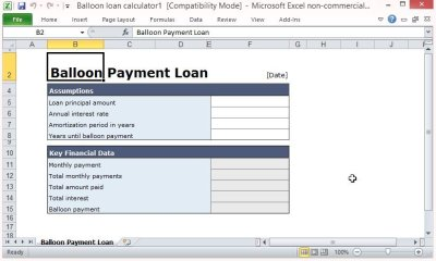 Free Balloon Payment Excel Template