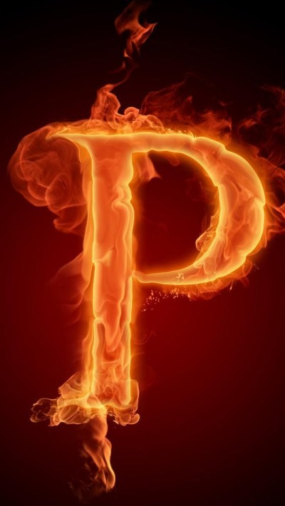 Burning Letter P iPhone 6 / 6 Plus and iPhone 5/4 Wallpapers