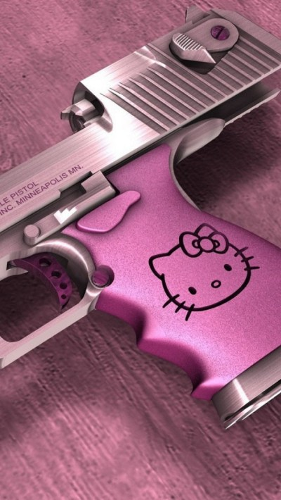 Hello Kitty Desert Eagle Gun iPhone 6 / 6 Plus and iPhone 5/4 Wallpapers