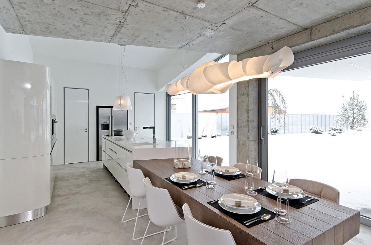concrete interior osice czech republic dining table lighting kitchen kitchen table lighting Dining Table Lighting Kitchen Concrete Interior Design in Osice Czech Republic