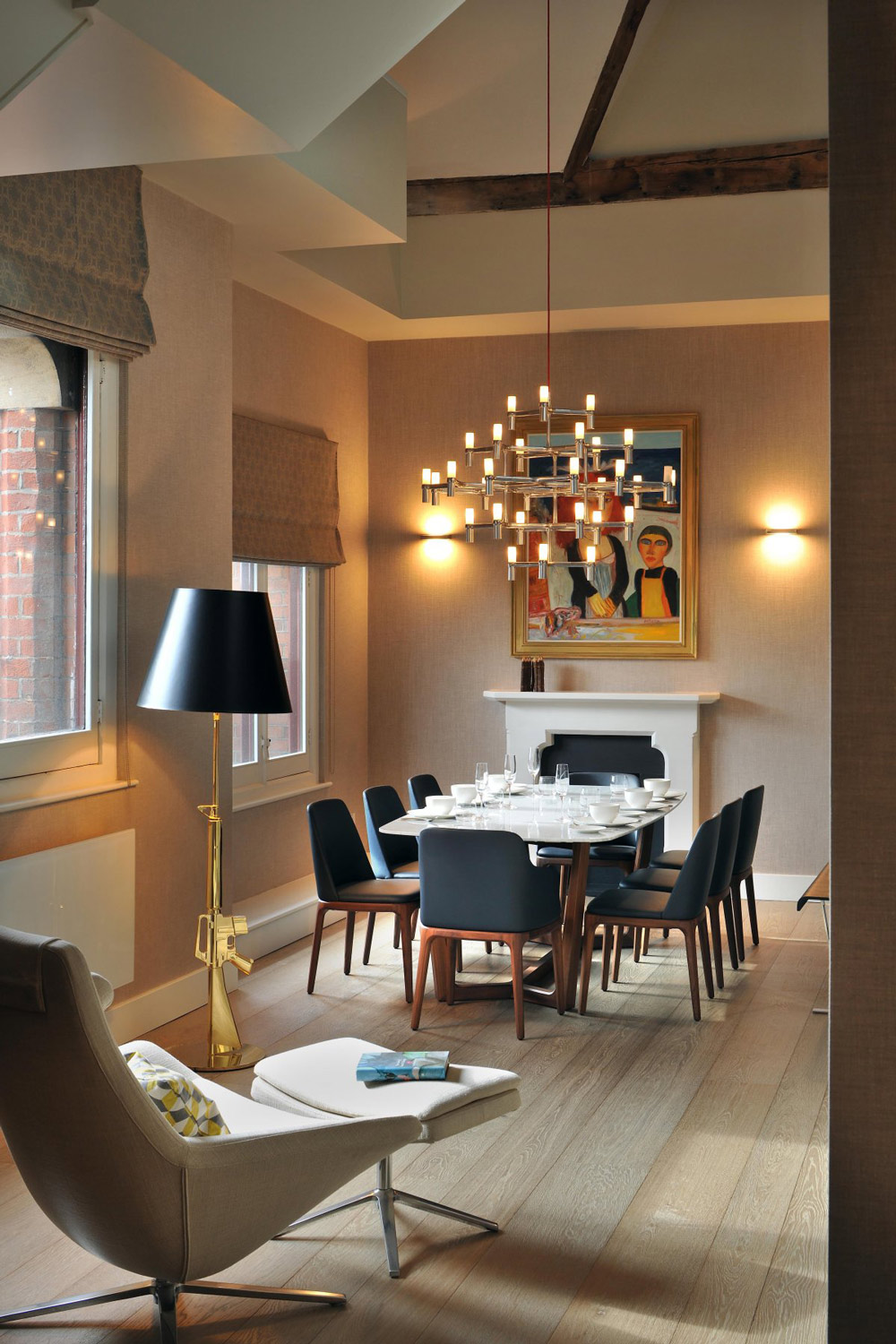 penthouse apartment london kitchen table lighting Dining Table Lighting St Pancras Penthouse Apartment in London