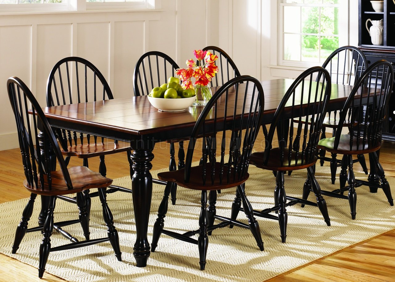 black cherry twotone finish casual dining table woptions p two tone kitchen table Black Cherry Two Tone Finish Casual Dining Table w Options