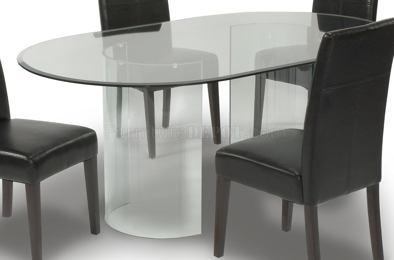 clear glass oval top modern dining table woptional chairs p oval kitchen table Clear Glass Oval Top Modern Dining Table w Optional Chairs