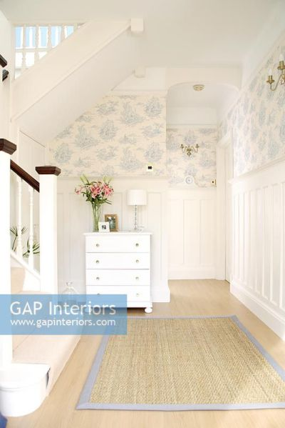 GAP Interiors - Classic hallway with wallpaper above dado rain and wood panels below - Image No ...