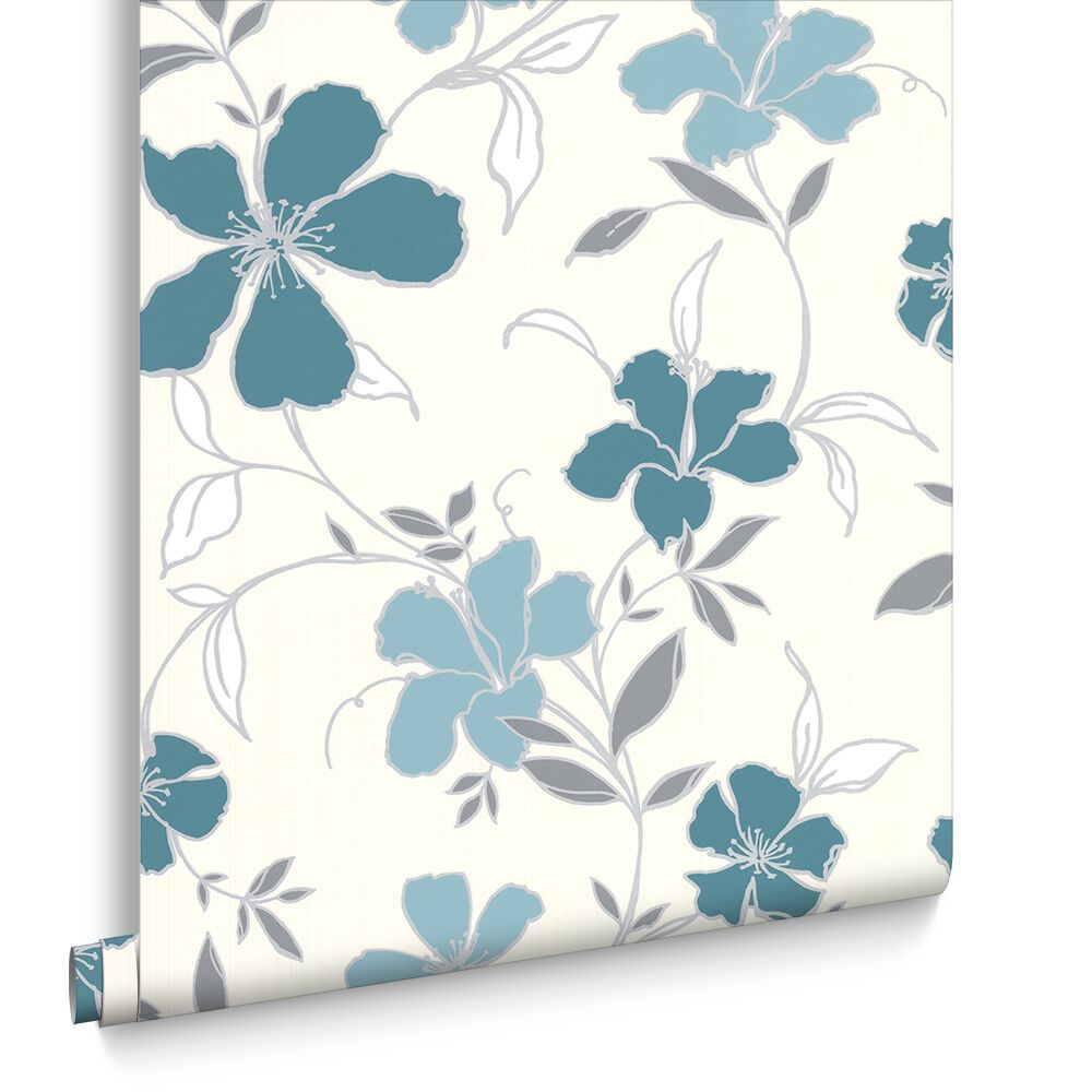 Rapture Teal and Silver Wallpaper   Graham & Brown