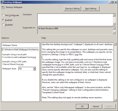 """Group Policy to configure Desktop Wallpaper (""""Background"""") 
