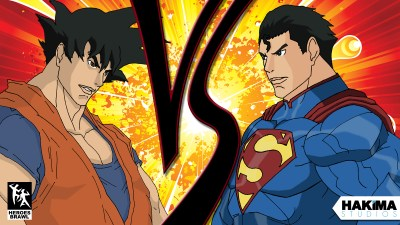Goku Vs Superman Heroes Brawl Wallpaper 1600 x 900 Version 1 « Hakima Studios