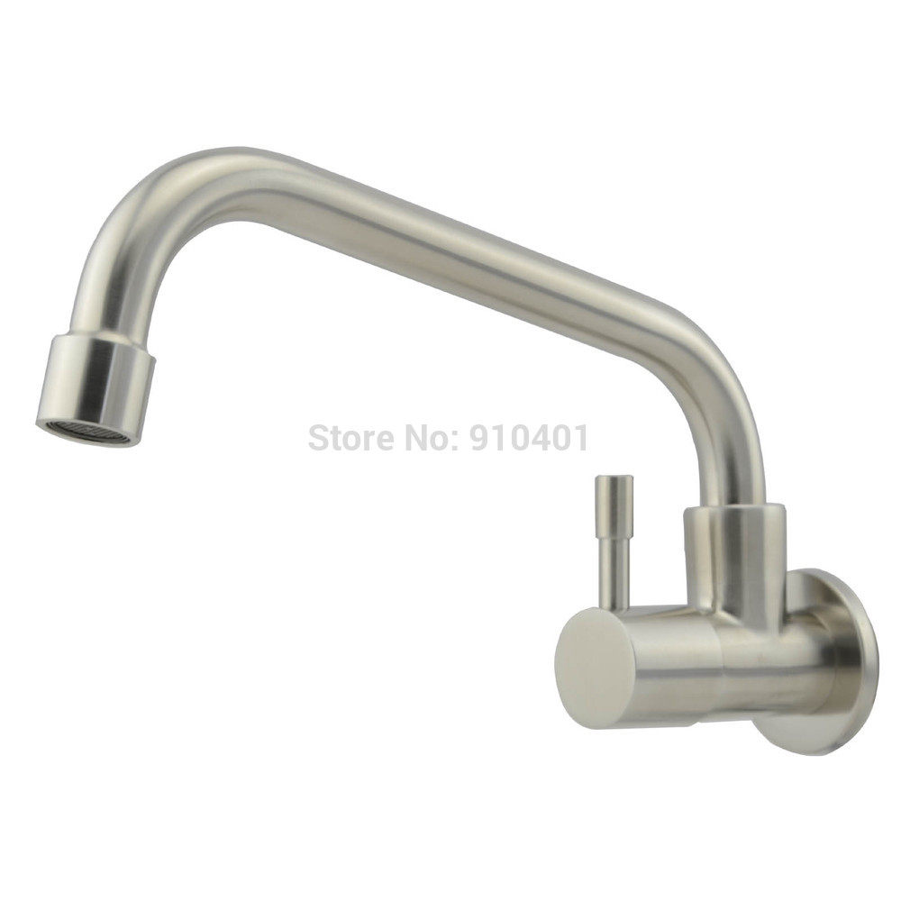 Wholesale And Retail Promotion Wall Mounted Kitchen Faucet Single Handle For Cold Water Facuet Tap Swivel Spout 748 1