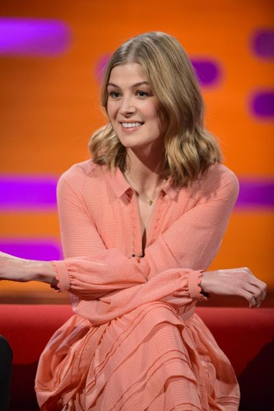 ROSAMUND PIKE on the Set of Graham Norton Show in London 11/11/2016 - HawtCelebs