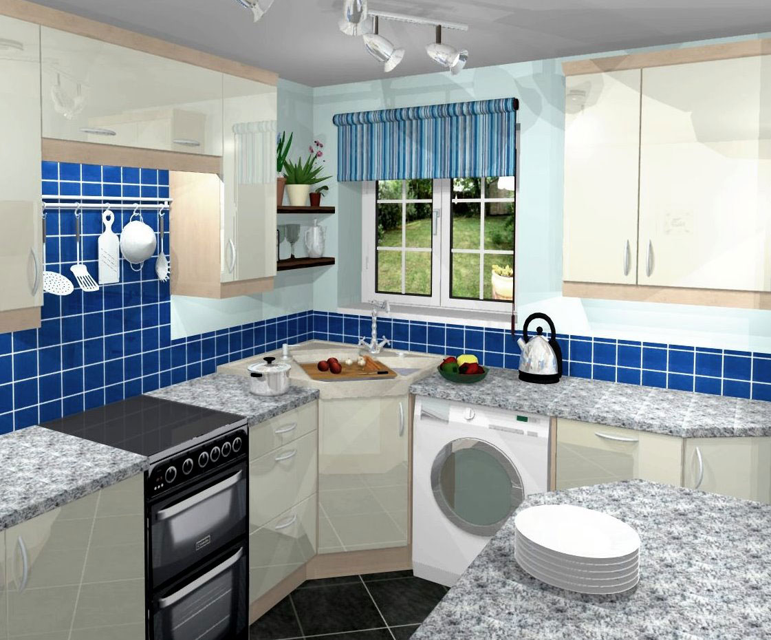 10 small kitchen design ideas will worth money kitchen design ideas VIEW IN GALLERY blue small kitchen remodelling ideas with white hanging cabinets