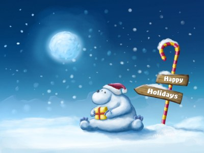 Happy Christmas Bear Wallpaper - HD Wallpapers