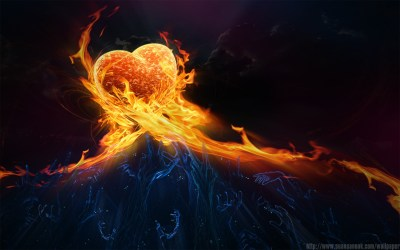 Fire Burning Heart of Passion - HD Wallpapers