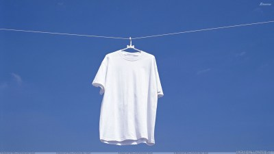 White T Shirt Hanging N Blue Background HD Wallpaper
