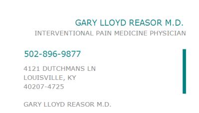 1457356263 NPI Number | DR. GARY LLOYD REASOR M.D. | LOUISVILLE, KY | NPI Registry | Medical ...