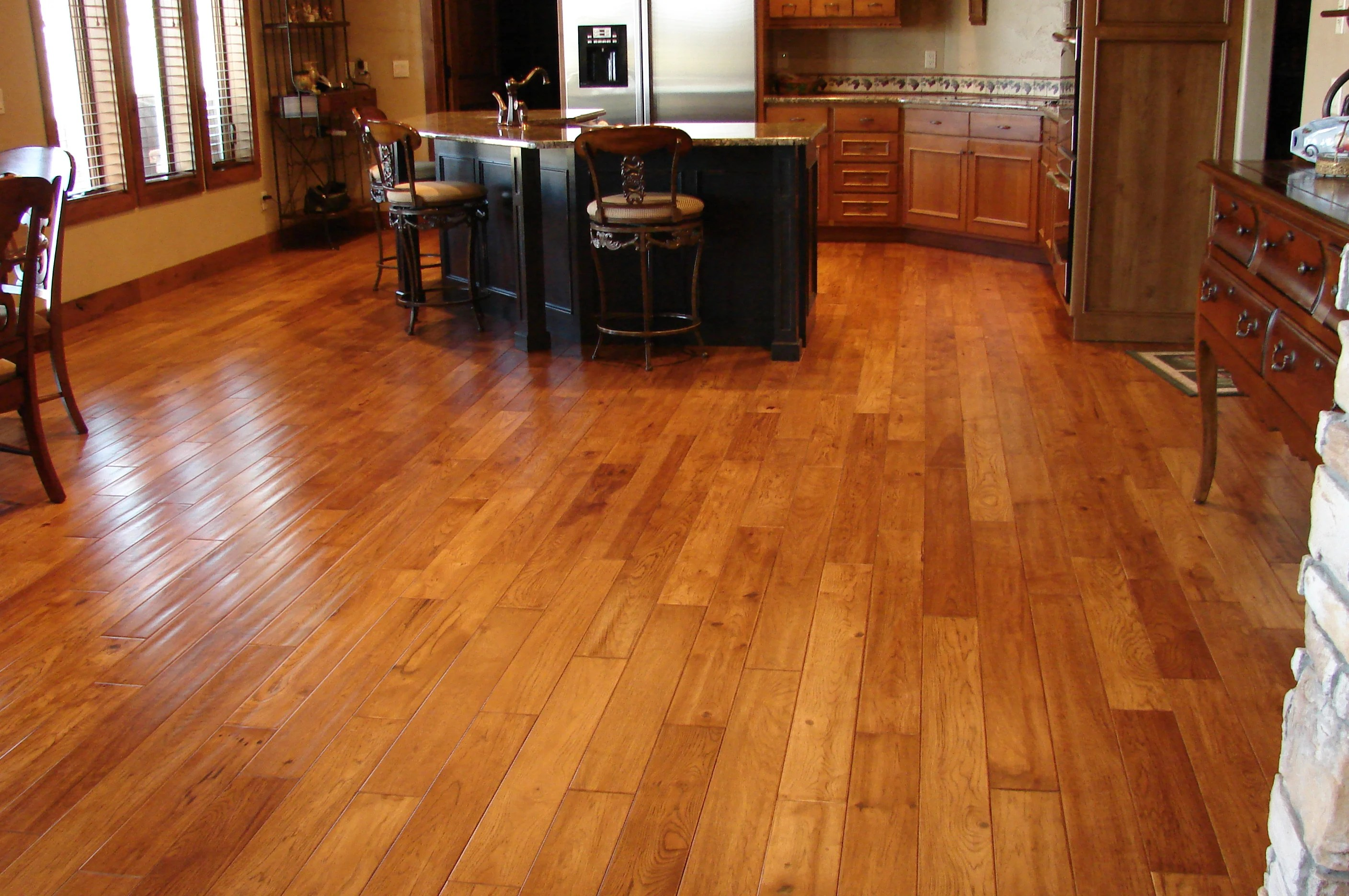 cypress and hickory wood flooring wood floors in kitchen Wood Flooring Trends