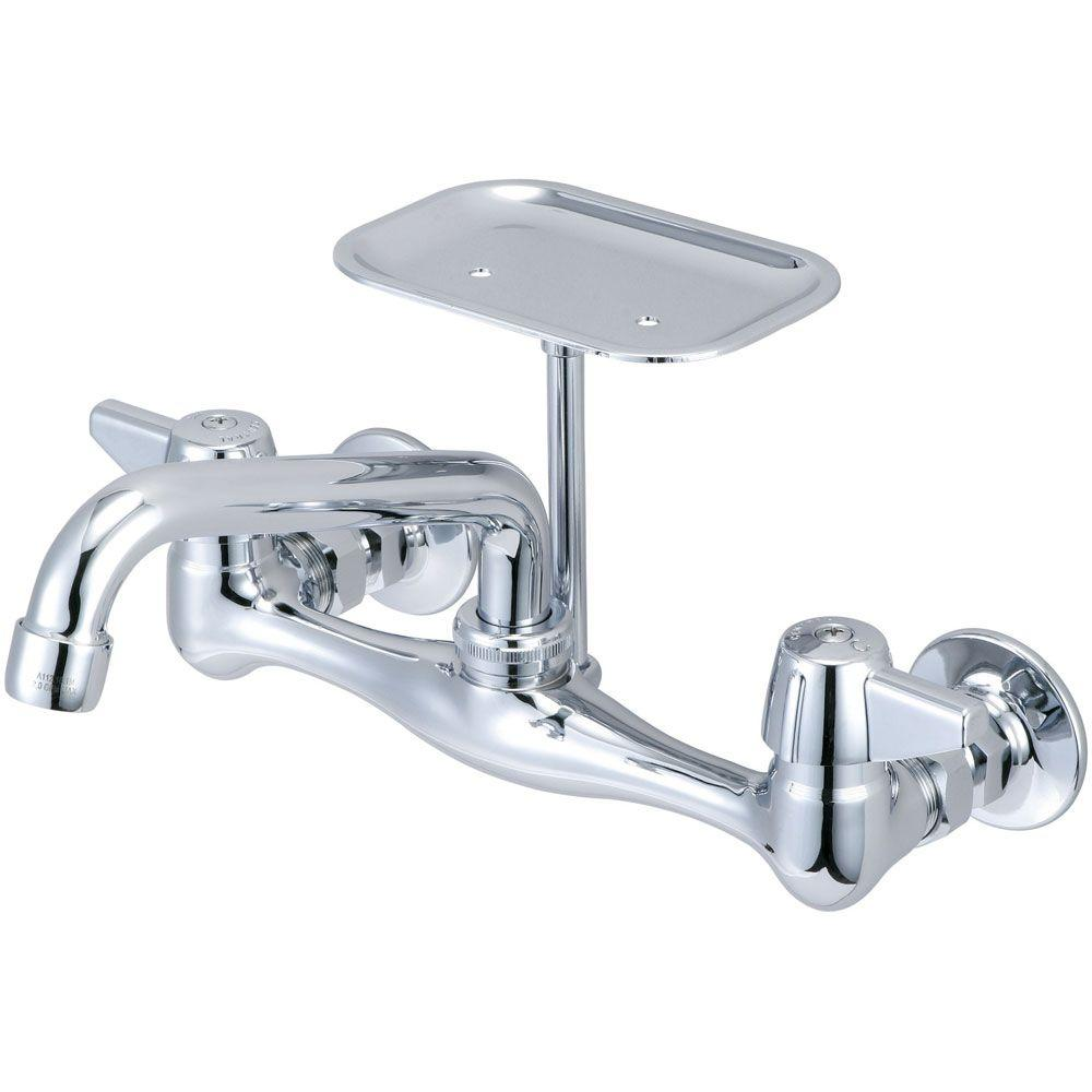 wall mounted kitchen faucet Central Brass 2 Handle Kitchen Faucet On 8 in Centers in PVD Polished