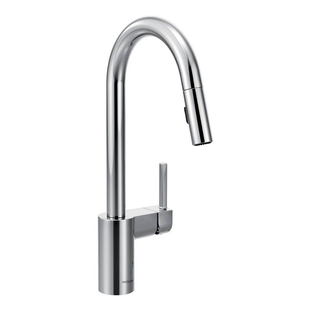 kitchen faucet pull down MOEN Align Single Handle Pull Down Sprayer Kitchen Faucet with Reflex in Chrome