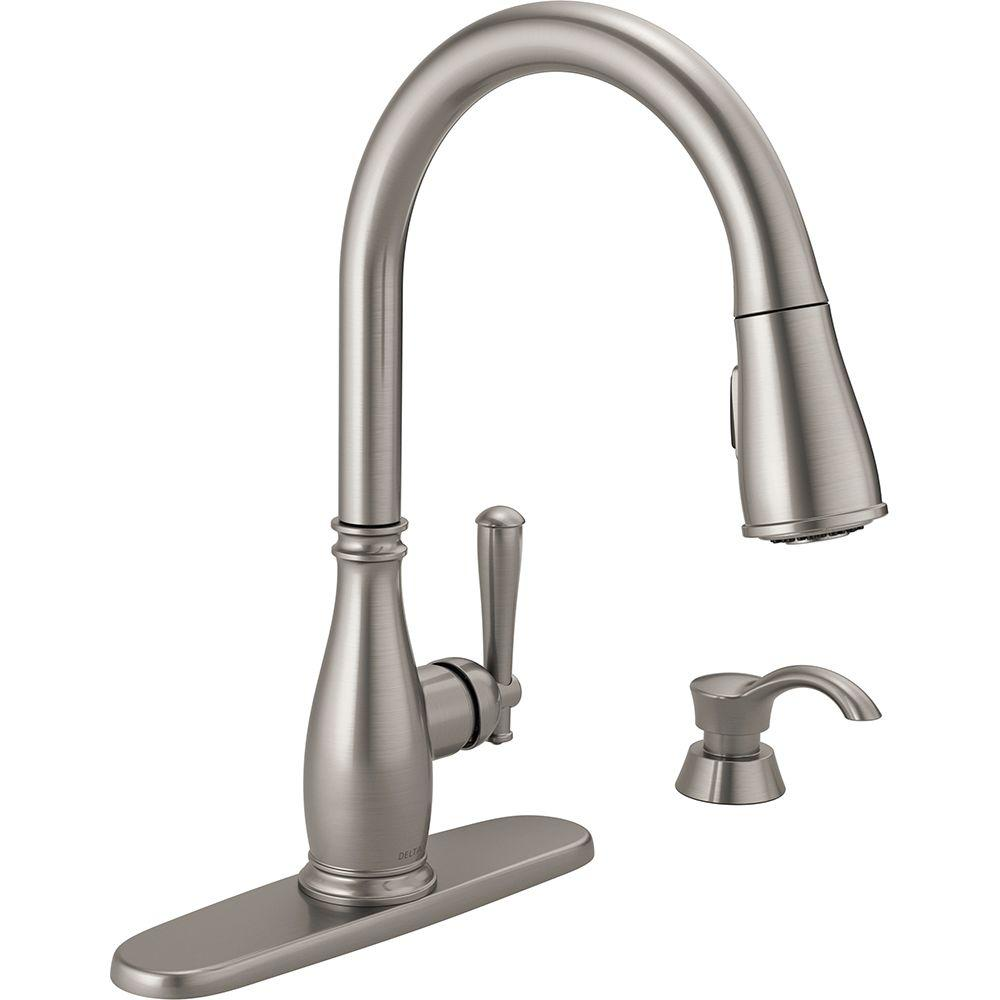 kitchen faucet pull down Charmaine Single Handle Pull Down Sprayer Kitchen Faucet with Soap Dispenser and