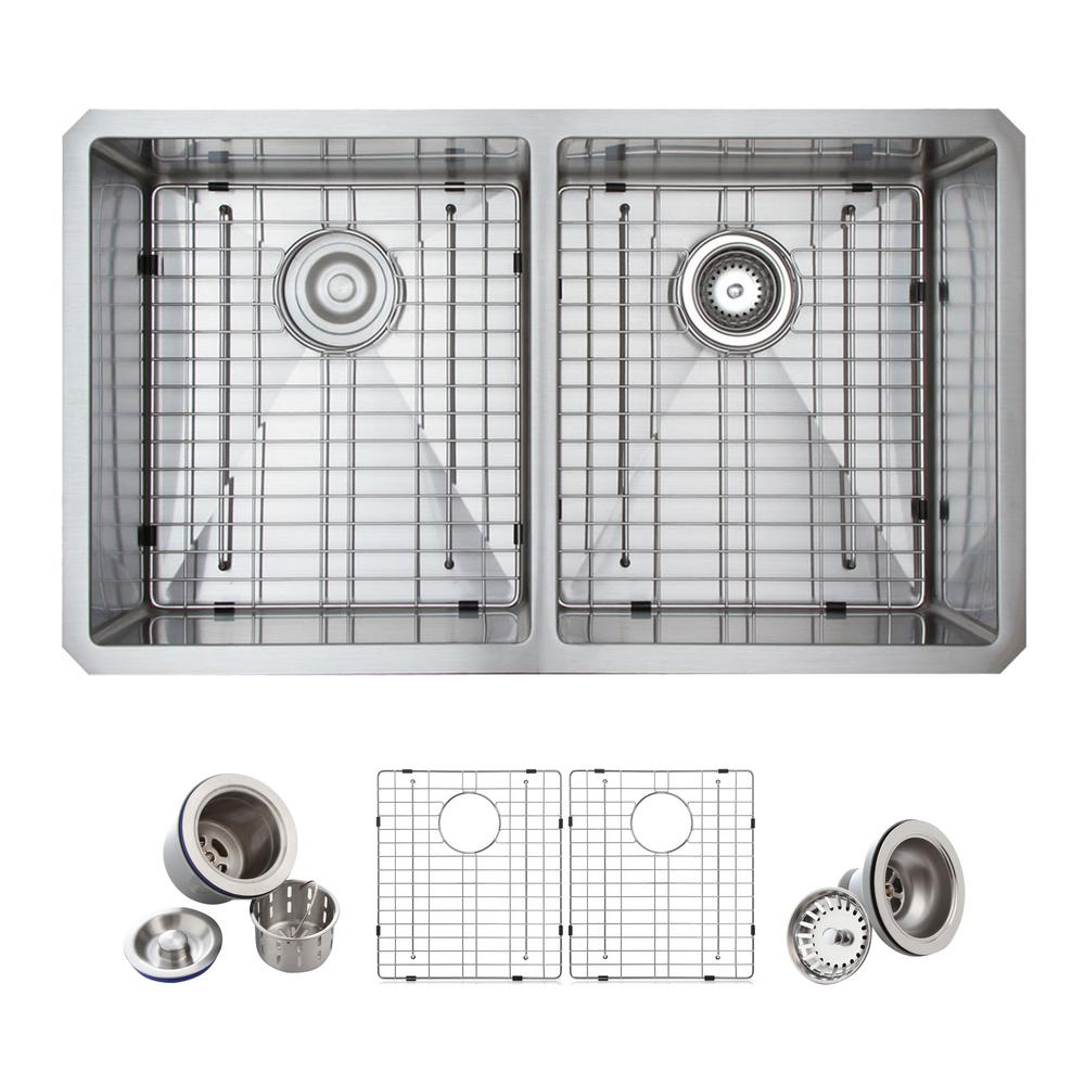 N white kitchen sink undermount All in One Undermount Stainless Steel 33 in Double Basin 50 50
