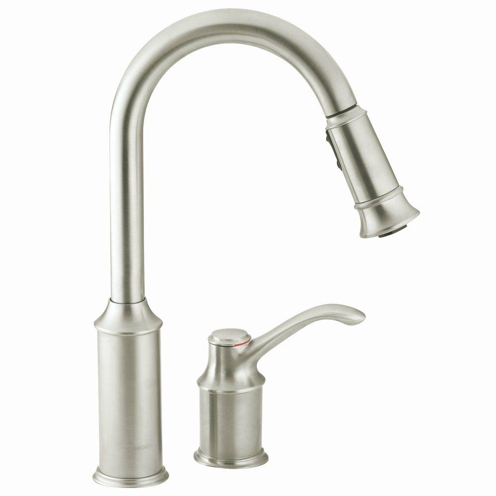 moen kitchen faucet Aberdeen Single Handle Pull Down Sprayer Kitchen Faucet with Reflex in Classic Stainless