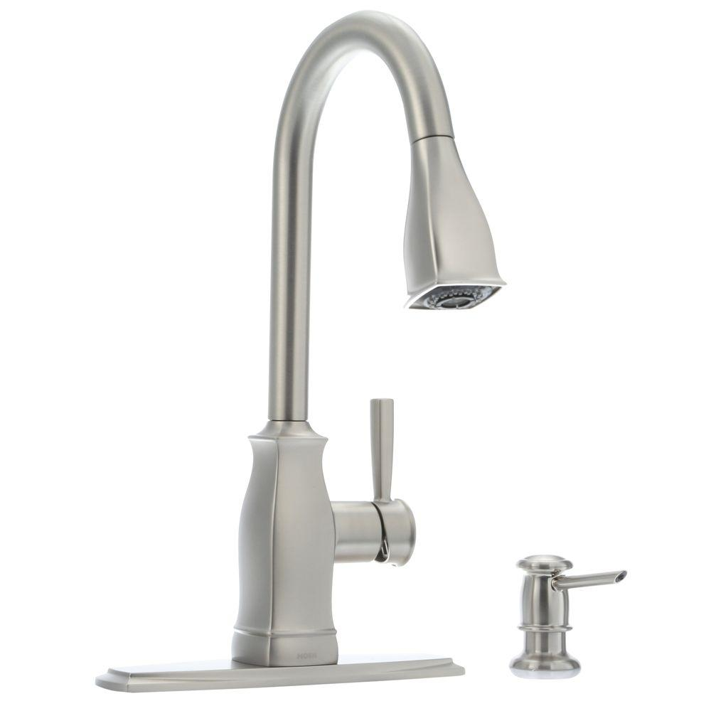 moen kitchen faucet MOEN Hensley Single Handle Pull Down Sprayer Kitchen Faucet with Reflex and Power Clean