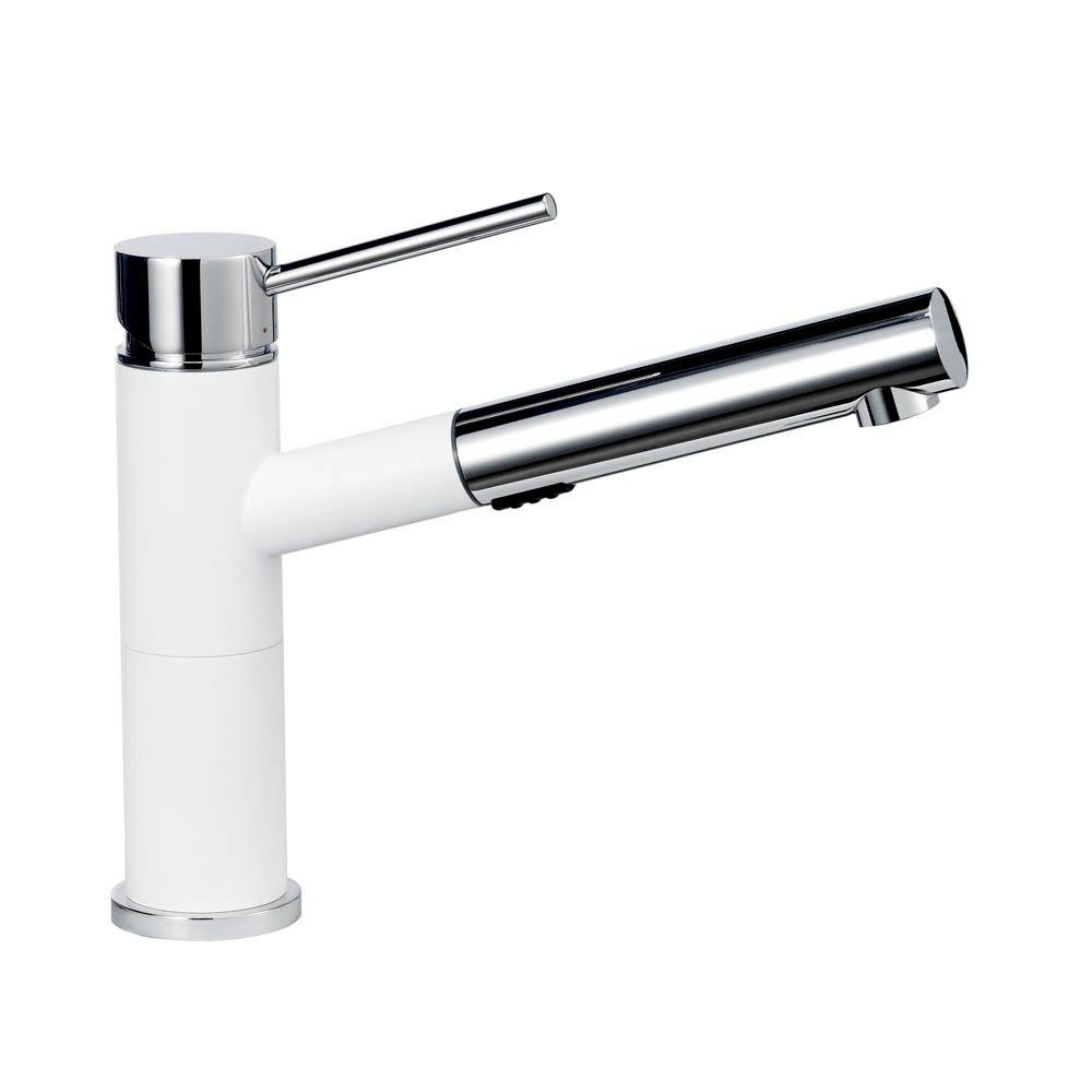 white kitchen faucet KOHLER Coralais 1 or 3 Hole Single Handle Pull Out Sprayer Kitchen Faucet with MasterClean sprayface in White K L 0 The Home Depot