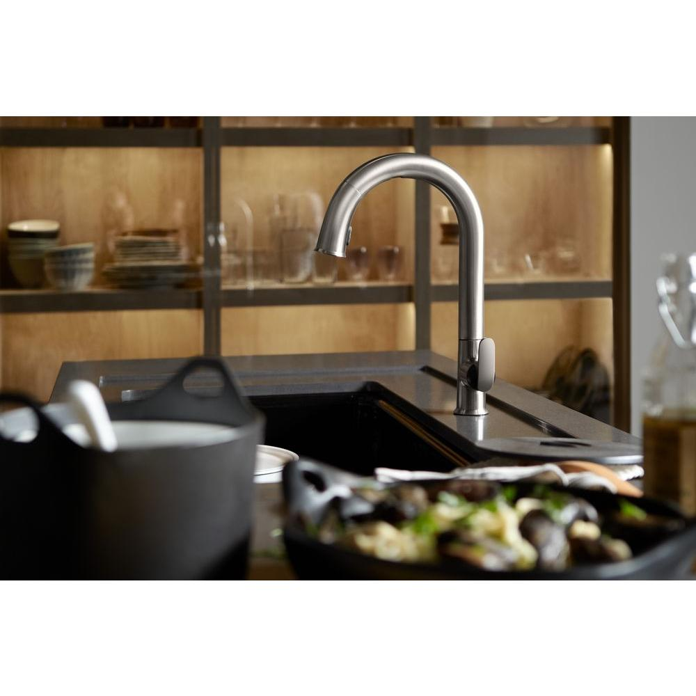 touchless kitchen faucet KOHLER Sensate AC Powered Touchless Kitchen Faucet in Vibrant Stainless with DockNetik and Sweep Spray K VS The Home Depot