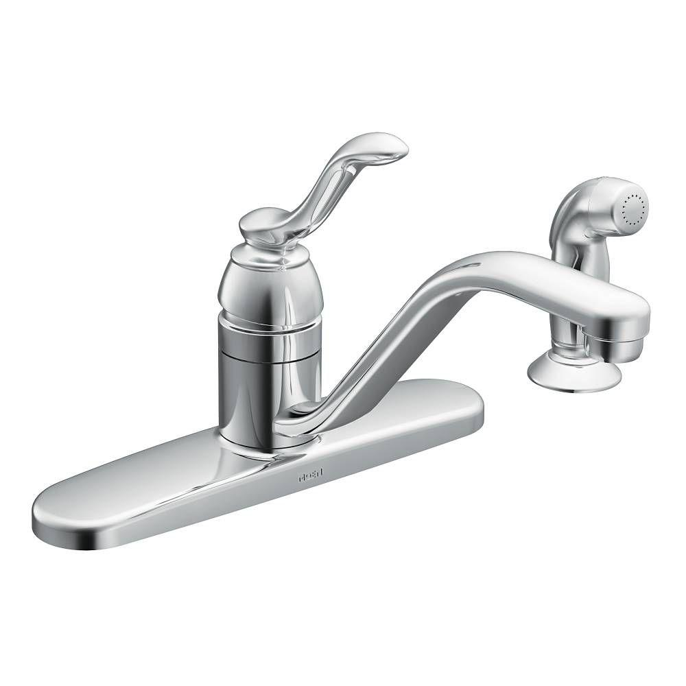 moen kitchen faucet Banbury Single Handle Standard Kitchen Faucet with Side Sprayer in Chrome
