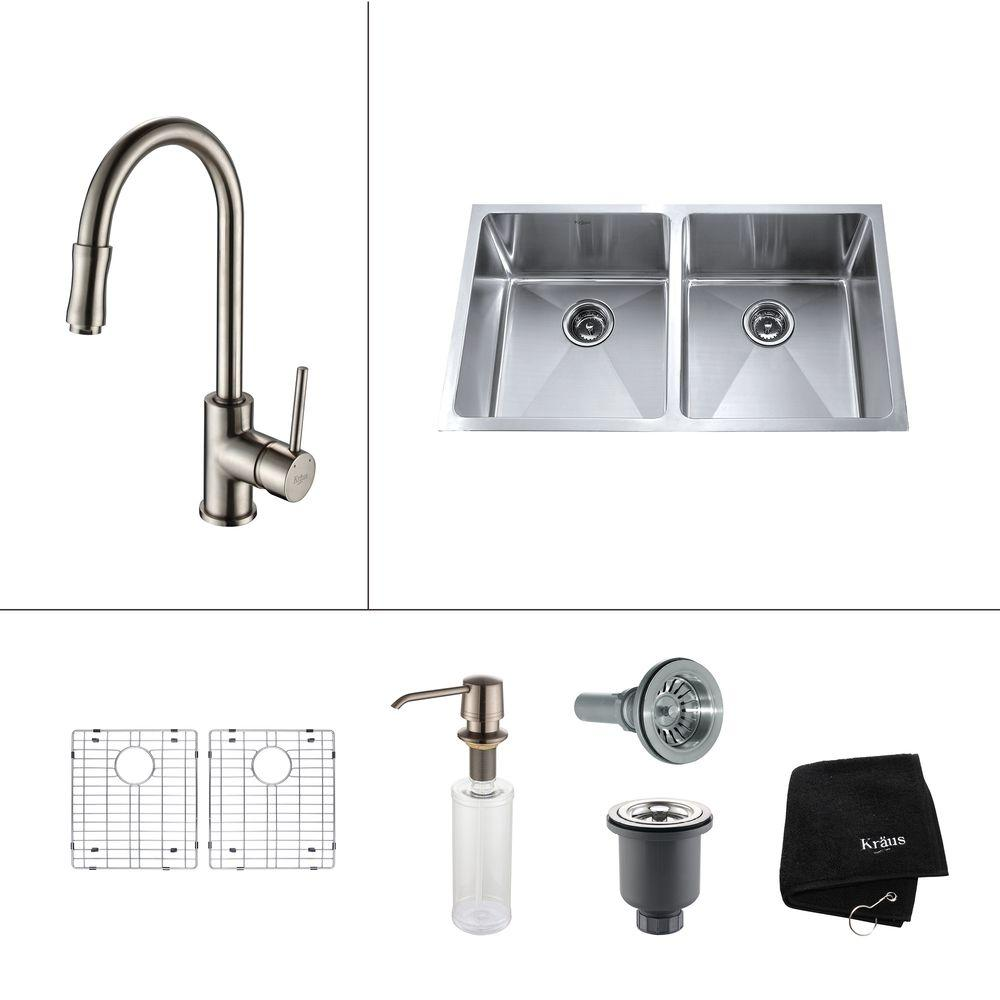 N white kitchen sink undermount All in One Undermount Stainless Steel 33 in 50 50 Double Basin