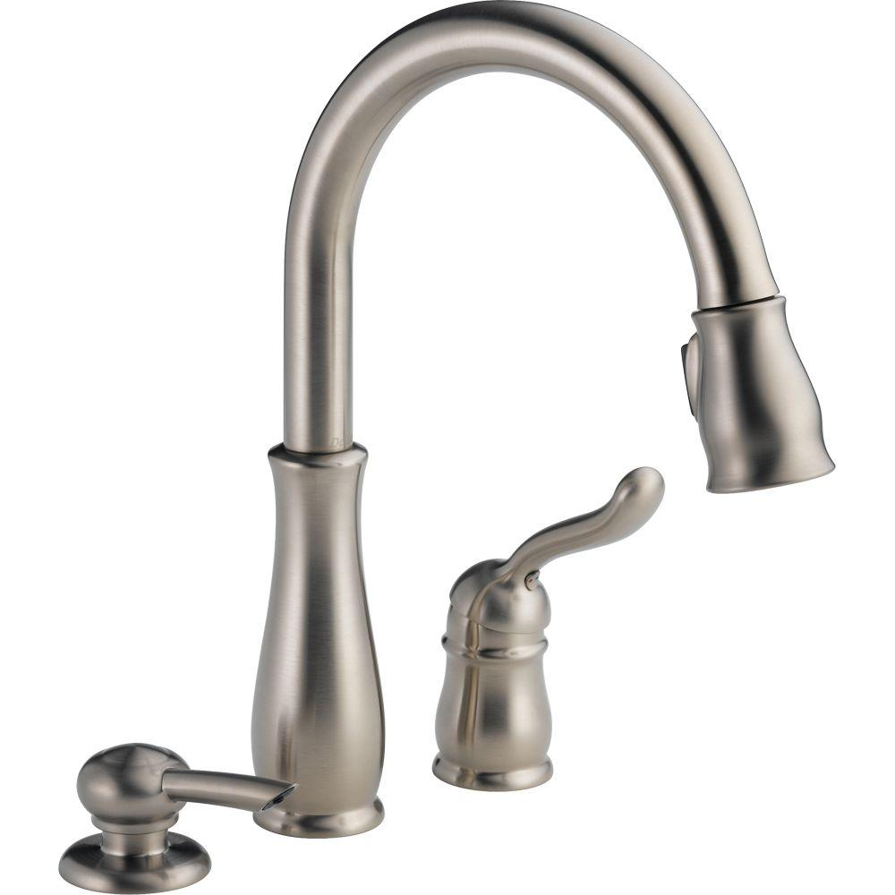 delta leland kitchen faucet Leland Single Handle Pull Down Sprayer Kitchen Faucet with Soap Dispenser and MagnaTite Docking