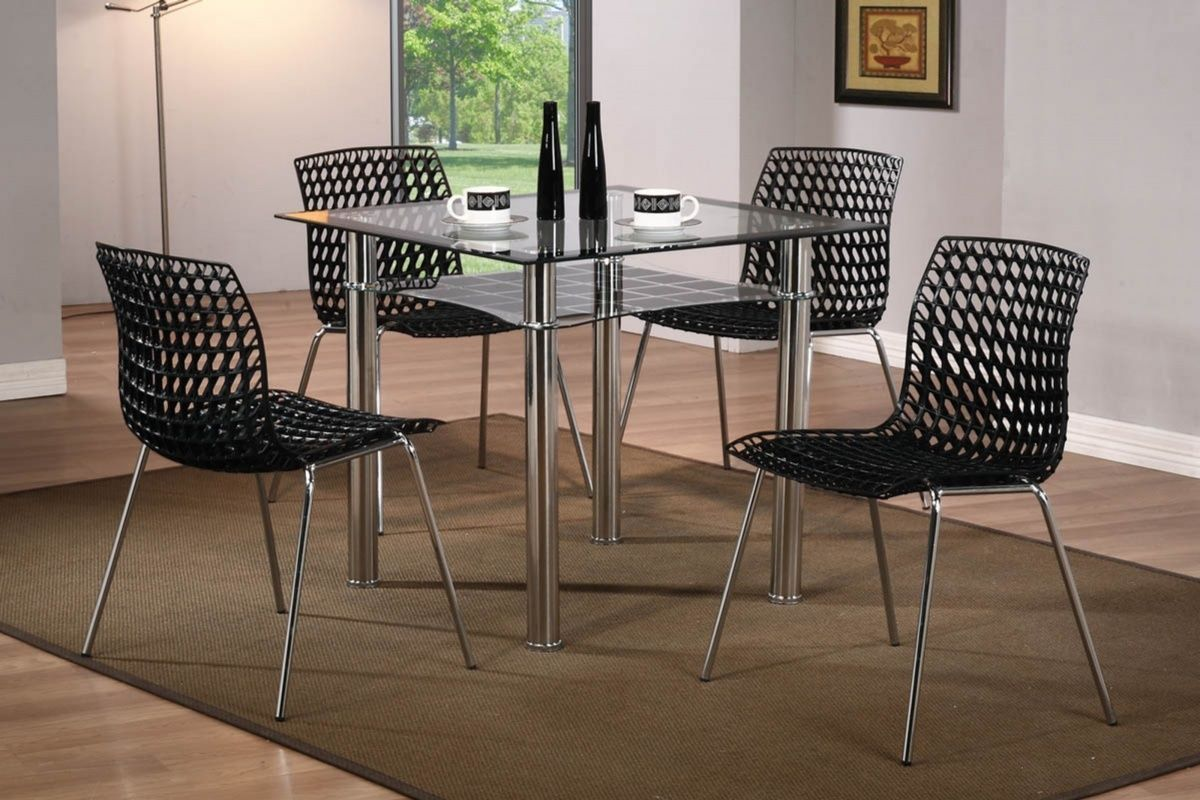 Modern small square glass dining table and 4 chairs set small square kitchen table Modern small square glass dining table and 4 chairs set