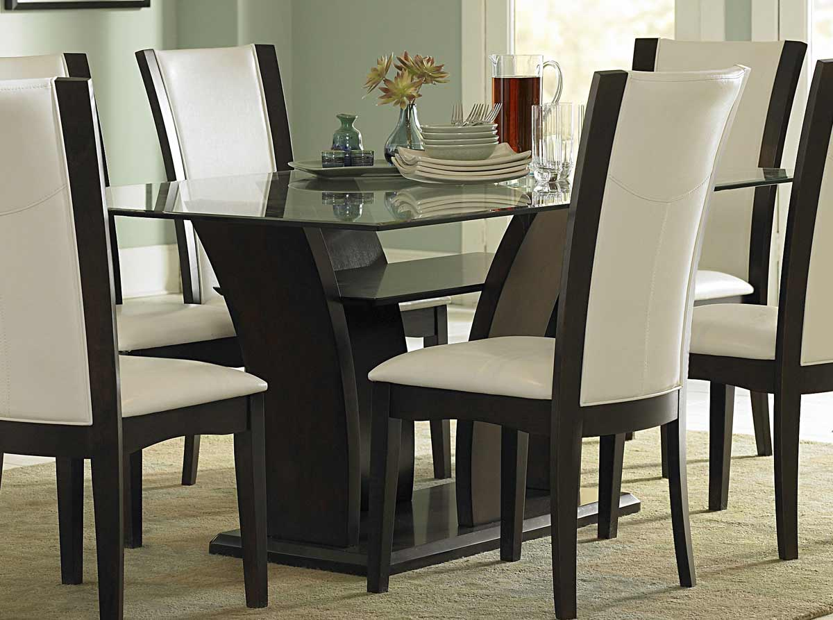 Homelegance Furniture Daisy Dining Table with Glass Top 72 p glass kitchen table Homelegance Daisy Dining Table with Glass Top