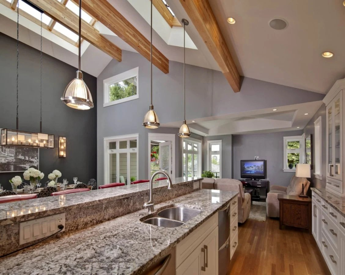 kitchens vaulted ceilings overhead kitchen lighting Compact as it may seem this seemingly spacious kitchen was achieved because of the vaulted