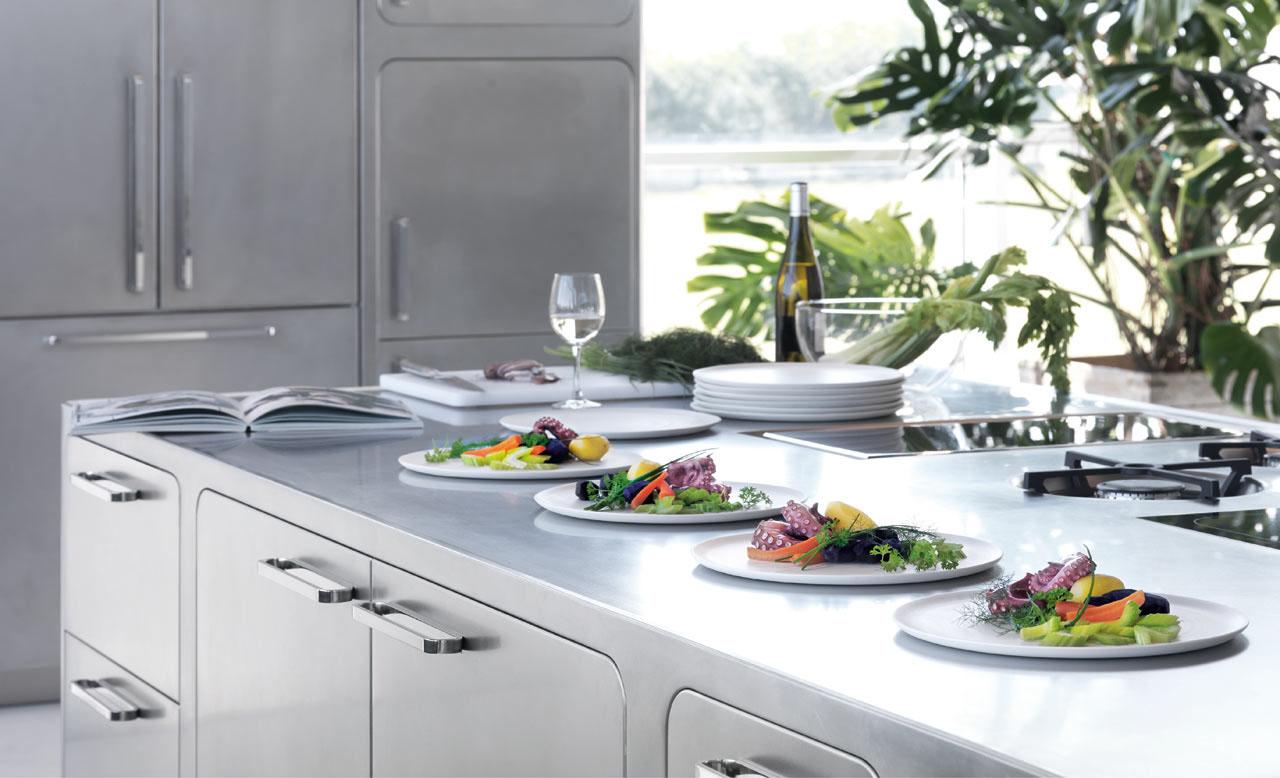italian designed ergonomic and hygienic stainless steel kitchen stainless steel kitchen countertops Modern Kitchen with Stainless Steel Countertop