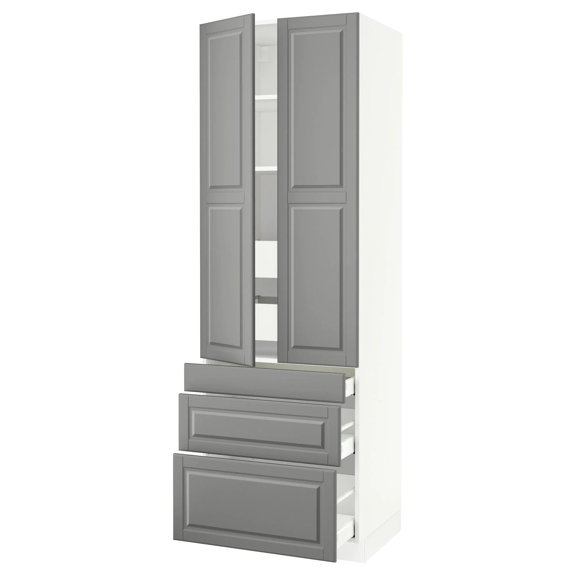 ikea cabinets kitchen SEKTION high cabinet w 2 doors 5 drawers white Maximera Bodbyn gray