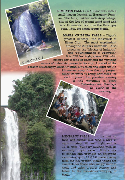 Iligan Tourism Brochure   Iligan   City Of Majestic Waterfalls MAIN MENU