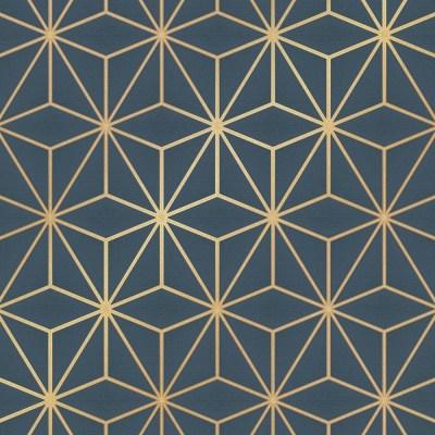 I Love Wallpaper Astral Metallic Geometric Wallpaper Navy Blue Gold - Wallpaper from I Love ...