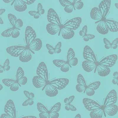 I Love Wallpaper Metallic Butterfly Designer Feature Wallpaper Teal / Silver | eBay