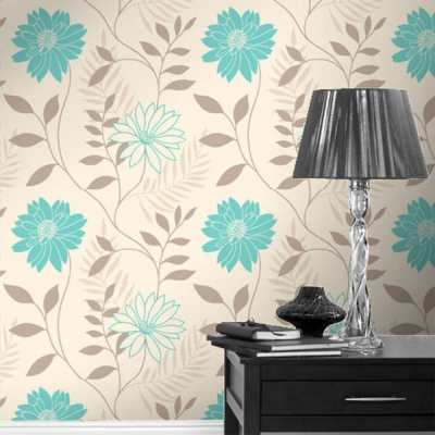 Coloroll Annika Floral Wallpaper Cream / Teal | eBay