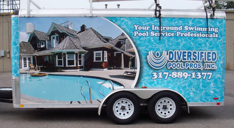 trailer full wrap, Diversified Pool Pros trailer wrap, full trailer wrap, full wrap business trailer