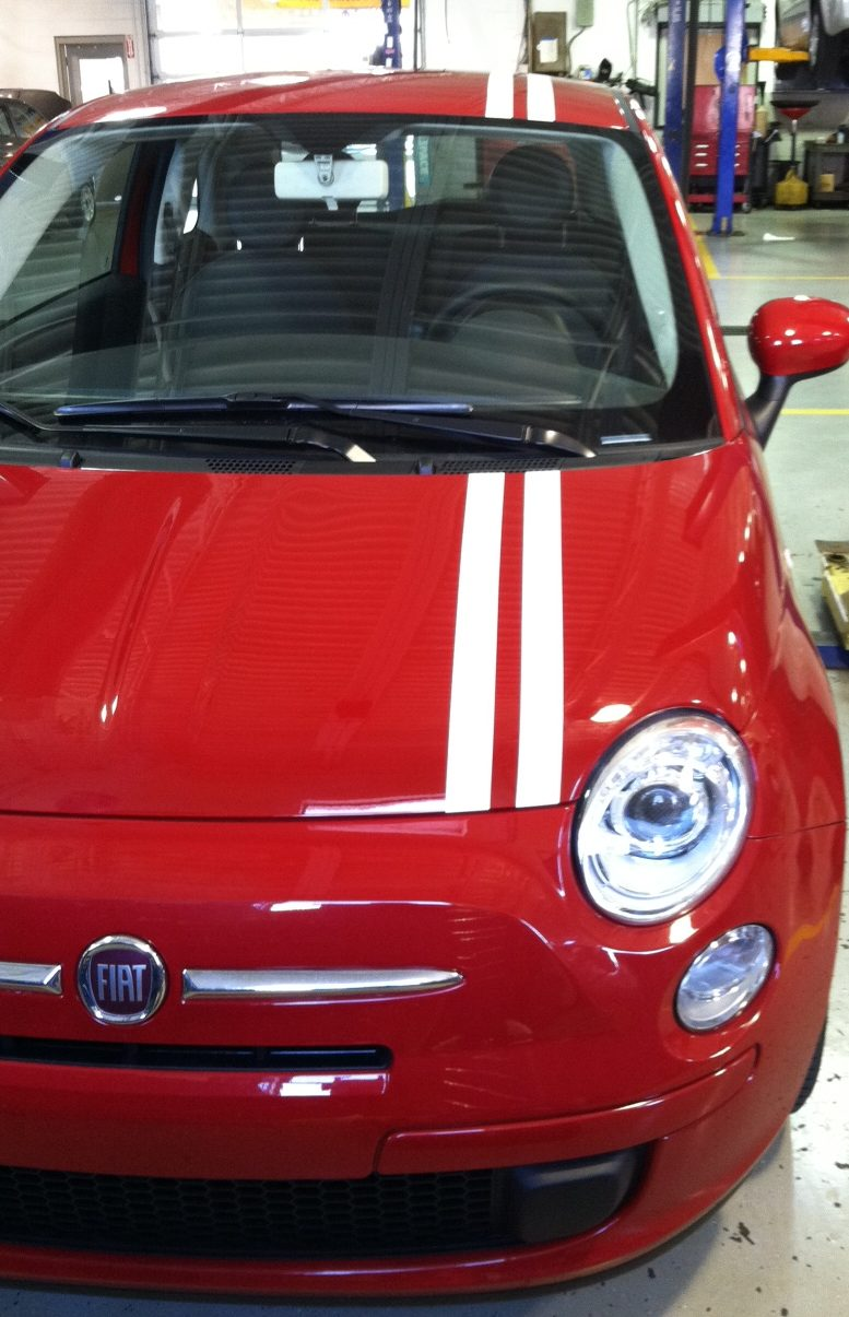fiat accent stripes, white stripes for vehicle, accent white wrap