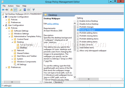 How to deploy Desktop Wallpaper through Group Policy in Server 2012