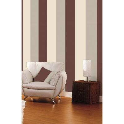 Direct Stripe 3 Colour Striped Motif Textured Designer Vinyl Wallpaper E40928 - Chocolate Coffee ...