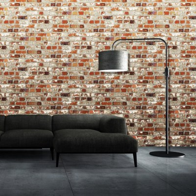 Muriva Just Like It Loft Brick Faux Red Wall Effect Wallpaper J71408