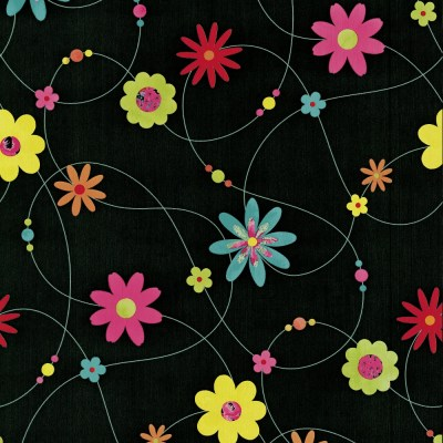 P&S Flower Pattern Floral Motif Textured Striped Washable Wallpaper 05563-10 - Black Yellow Pink ...