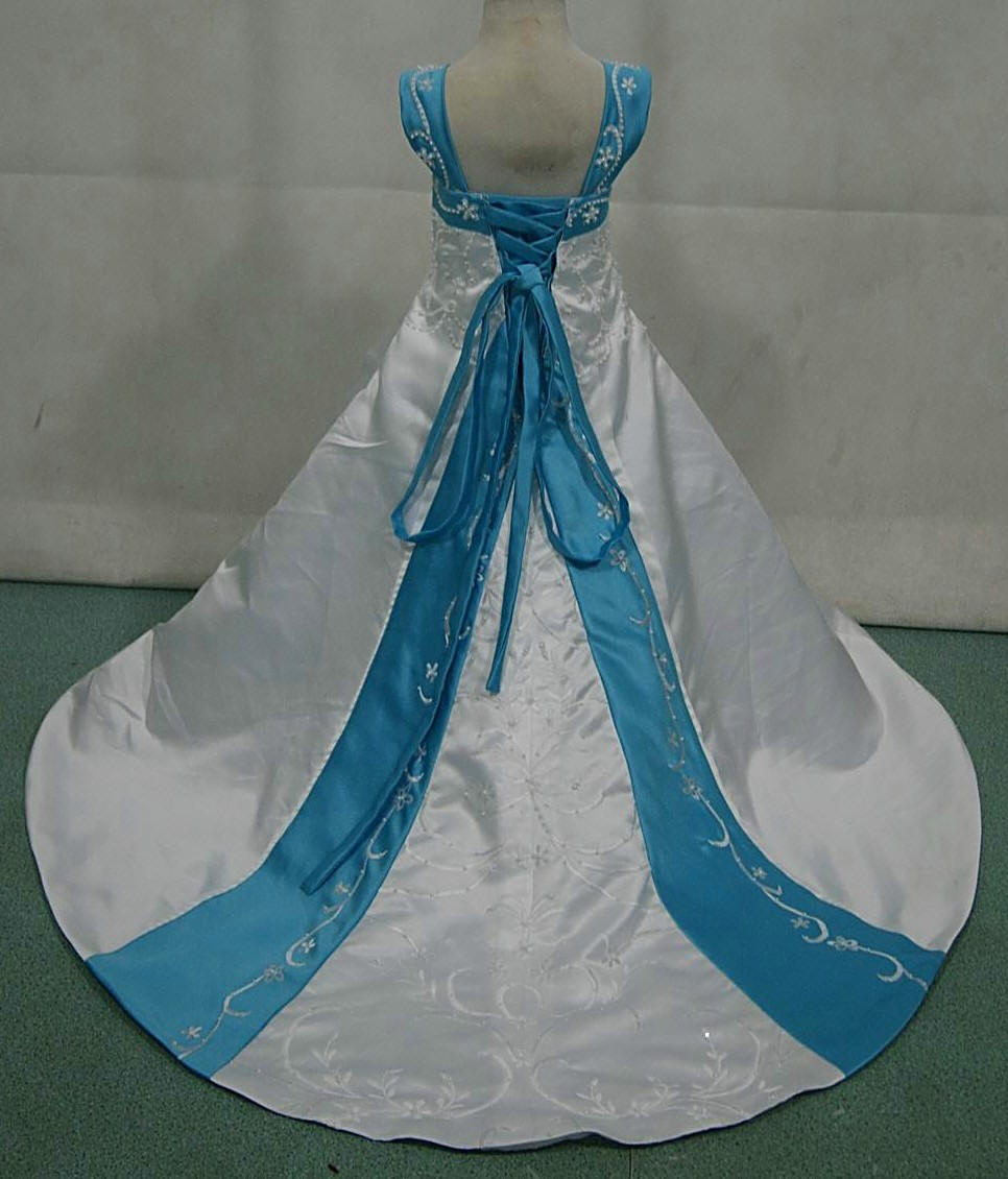 Bridal gowns with color wedding dress blue white and pool blue miniature wedding gown with corset lace up back
