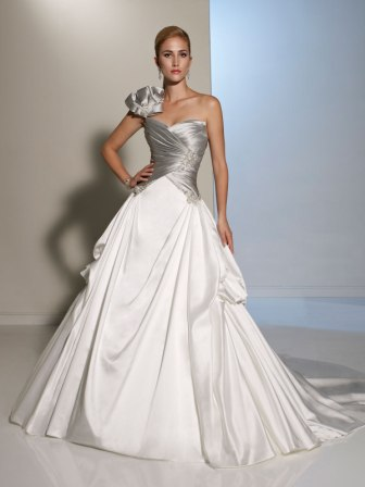 Bridal gowns with color untraditional wedding dresses silver and white bow shoulder wedding gown